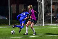 Niekie Pellens (14) of Eendracht Aalst making a penalty fault against Gwen Duijsters (13) of KRC Genk during a female soccer game between  Racing Genk Ladies and Eendracht Aalst on the 15 th matchday of the 2020 - 2021 season of Belgian Scooore Womens Super League , friday 5 th of March 2021  in Genk , Belgium . PHOTO SPORTPIX.BE   SPP   STIJN AUDOOREN