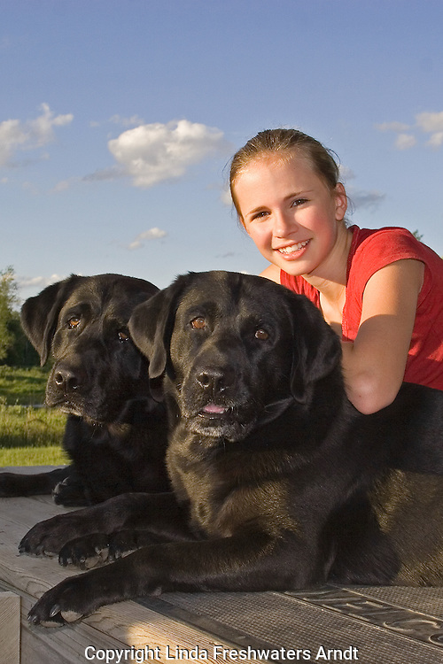 Black Labrador retrievers (AKC) posing with a 13 year old girl.  Summer.  Winter, WI.