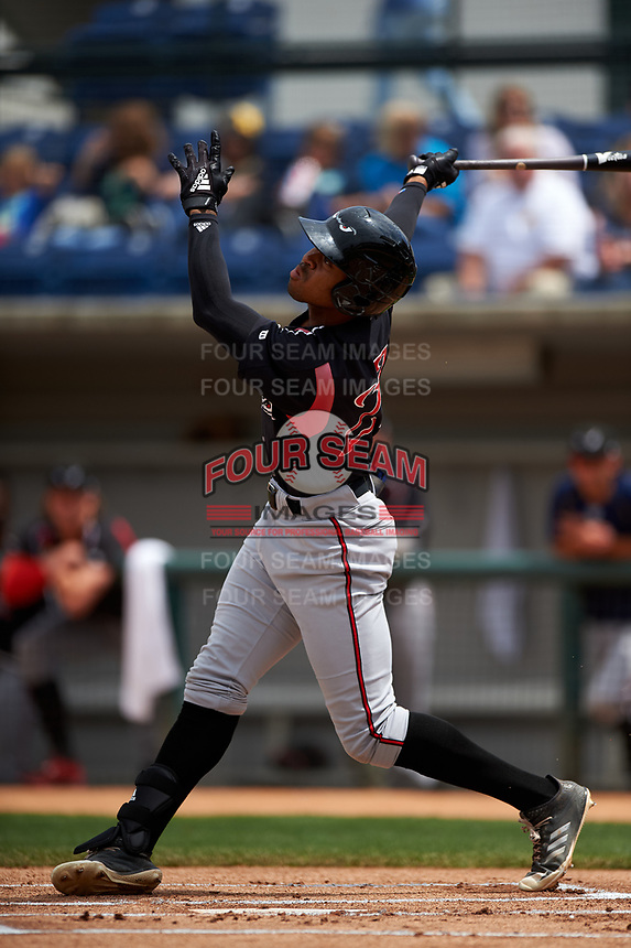 Lake Elsinore Storm left fielder Buddy Reed (23) follows through on his swing during a California League game against the Rancho Cucamonga Quakes at LoanMart Field on May 20, 2018 in Rancho Cucamonga, California. Rancho Cucamonga defeated Lake Elsinore 6-2. (Zachary Lucy/Four Seam Images)