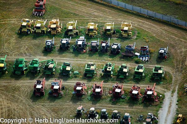 aerial photograph used combines farm equipment Nebraska