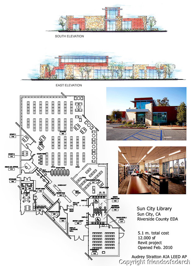 Sun City Library, Sun City, CA. Layout and elevations for a 12,000 sf Revit project. Opened 2010. Designed by Audrey Stratton, AIA.