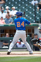 Christian Arroyo (24) of the Durham Bulls at bat against the Charlotte Knights at BB&T BallPark on May 27, 2019 in Charlotte, North Carolina. The Bulls defeated the Knights 10-0. (Brian Westerholt/Four Seam Images)