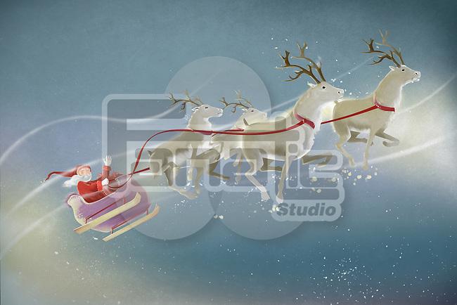 Illustration of Santa and reindeers against sky
