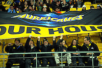 Fans with a banner during the Super Rugby semifinal match between the Hurricanes and Chiefs at Westpac Stadium, Wellington, New Zealand on Saturday, 30 July 2016. Photo: Dave Lintott / lintottphoto.co.nz