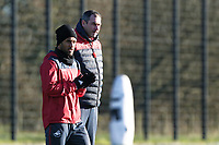 (L-R) Wayne Routledge in action next to manager Paul Clement during the Swansea City Training at The Fairwood Training Ground, Swansea, Wales, UK. Friday 15 December 2017