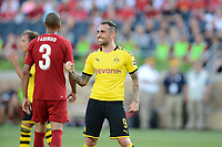 South Bend, IN, Friday July 19 2019.  Borussia Dortmund defeated Liverpool 3-2 in an international friendly at Notre Dame Stadium.Paco Alcacer scores and celebrates opening goal.