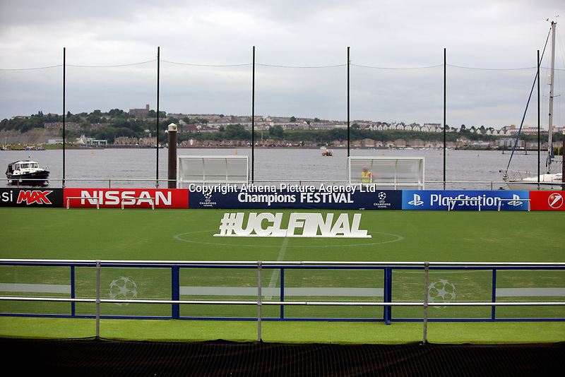 A floating pitch in Cardiff Bay overlooking Penarth, installed for the Real Madrid v Juventus UEFA Champions League final in Cardiff, Wales, UK. Wednesday 31 May 2017