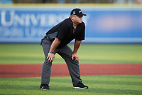 Third base umpire Kevin Morgan works the Atlantic League game between the Lexington Legends and the High Point Rockers at Truist Point on June 16, 2021, in High Point, North Carolina. The Legends defeated the Rockers 2-1. (Brian Westerholt/Four Seam Images)