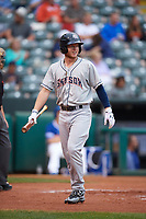 Colorado Springs Sky Sox right fielder Brett Phillips (8) walks back to the dugout during a game against the Oklahoma City Dodgers on June 2, 2017 at Chickasaw Bricktown Ballpark in Oklahoma City, Oklahoma.  Colorado Springs defeated Oklahoma City 1-0 in ten innings.  (Mike Janes/Four Seam Images)