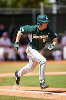 Michigan State Spartans second baseman Jordan Zimmerman (5) runs to first during a game against the Illinois State Redbirds on March 8, 2016 at North Charlotte Regional Park in Port Charlotte, Florida.  Michigan State defeated Illinois State 15-0.  (Mike Janes/Four Seam Images)