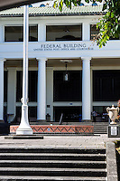 The Federal Building, including the post office and courthouse, in downtown Hilo on the Big Island of Hawai'i.