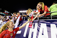 PHILADELPHIA, PA - AUGUST 29: Samantha Mewis #3 of the United States celebrates with fans during a game between Portugal and USWNT at Lincoln Financial Field on August 29, 2019 in Philadelphia, PA.