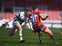 24th April 2021; Kingsholm Stadium, Gloucester, Gloucestershire, England; English Premiership Rugby, Gloucester versus Newcastle Falcons; Tom Penny of Newcastle Falcons tackles Kyle Moyle of Gloucester