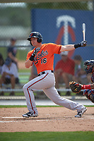 Baltimore Orioles Zach Kapstein (16) during a minor league Spring Training game against the Minnesota Twins on March 16, 2016 at CenturyLink Sports Complex in Fort Myers, Florida.  (Mike Janes/Four Seam Images)