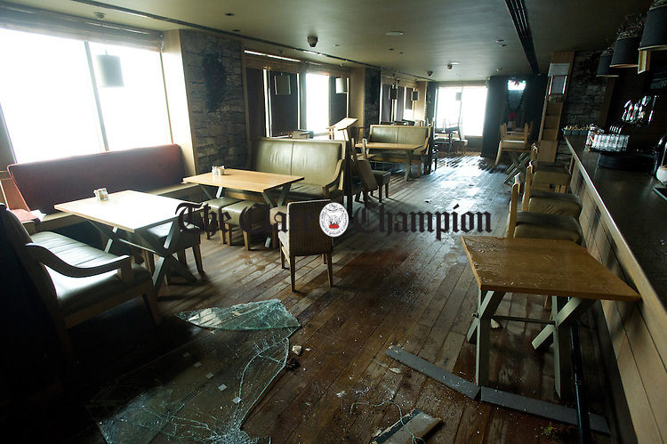 The interior of O Looney's which was breached by a wave from the storm at Lahinch promenade. Photograph by John Kelly.