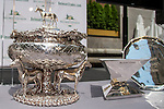 JUNE 3, 2015: The Belmont Stakes Trophy on display before the Belmont Stakes Post Position Draw at Rockefeller Center in New York, NY. Scott Serio/ESW/CSM