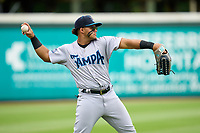 Tampa Tarpons outfielder Jasson Dominguez (20) during warmups before Game One of the Low-A Southeast Championship Series against the Bradenton Marauders on September 21, 2021 at LECOM Park in Bradenton, Florida.  (Mike Janes/Four Seam Images)