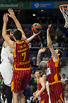 Real Madrid´s Andres Nocioni and Galatasaray´s Erceg and Micov during 2014-15 Euroleague Basketball match between Real Madrid and Galatasaray at Palacio de los Deportes stadium in Madrid, Spain. January 08, 2015. (ALTERPHOTOS/Luis Fernandez)