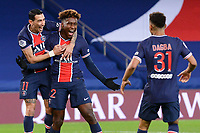 24th December 2020; Paris, France; French League 1 football, Paris St Germain versus Strasbourg; Goal celebrations from  TIMOTHEE PEMBELE PSG with ANGEL DI MARIA PSG
