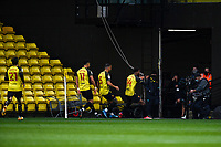 20th March 2021; Vicarage Road, Watford, Hertfordshire, England; English Football League Championship Football, Watford versus Birmingham City; Nathaniel Chalobah of Watfordvcelebrates as he scores his sides second goal in the 55th minute for 2-0