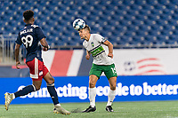 FOXBOROUGH, MA - AUGUST 26: Brandon Fricke #15 of Greenville Triumph SC heads the ball during a game between Greenville Triumph SC and New England Revolution II at Gillette Stadium on August 26, 2020 in Foxborough, Massachusetts.