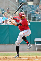 Willy Garcia (24) of the Altoona Curve bats during a game against the New Britain Rock Cats at New Britain Stadium on June 25, 2014 in New Britain, Connecticut.  New Britain defeated Altoona 3-1.  (Gregory Vasil/Four Seam Images)