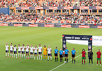HOUSTON, TX - JUNE 10: United States National Team stand for the National Anthem before a game between Portugal and USWNT at BBVA Stadium on June 10, 2021 in Houston, Texas.