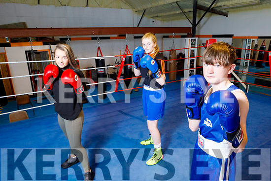Slieve Luchra boxing club members waiting to enter the ring as soon as they reopen. <br /> Front: Dean Martin. Back l to r: Ava Fitzmaurice  and Katln Horan