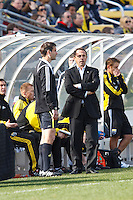 27 MARCH 2010:  Columbus Head Coach Robert Warzycha during the Toronto FC at Columbus Crew MLS game in Columbus, Ohio on March 27, 2010.