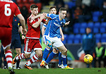 St Johnstone v Aberdeen...06.02.16   SPFL   McDiarmid Park, Perth<br /> Steven MacLean holds off Cammy Smith<br /> Picture by Graeme Hart.<br /> Copyright Perthshire Picture Agency<br /> Tel: 01738 623350  Mobile: 07990 594431