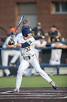 Michigan Wolverines second baseman Joe Pace (32) at bat against the Central Michigan Chippewas on May 9, 2017 at Ray Fisher Stadium in Ann Arbor, Michigan. Michigan defeated Central Michigan 4-2. (Andrew Woolley/Four Seam Images)