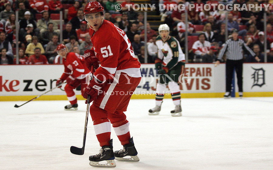 5 April 2009: NAMES in the second period of the Minnesota Wild at Detroit Redwings NHL hockey game, at Joe Louis Arena, in Detroit, MI. ..***** Editorial Use Only *****