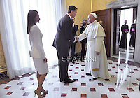 Pope Francis with Spain's King Felipe VI  and Queen Letizia  during a private audience at the Vatican on June 30, 2014.