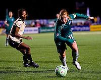 St Louis Athletica midfielder Lori Chalupny (17) handles the ball as FC Gold Pride forward Eriko Arakawa (30) defends during a WPS match at Korte Stadium, in St. Louis, MO, May 9 2009. St. Louis Athletica won the match 1-0.