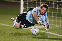 New England Revolution goalkeeper Doug Warren (12) dives to make the game winning save during the penalty kick shootout. The New England Revolution (MLS) defeated Crystal Palace FC USA of Baltimore (USL2) 5-3 in penalty kicks after finishing regulation and overtime tied at 1-1 during a Lamar Hunt US Open Cup quarterfinal match at Veterans Stadium in New Britain, CT, on July 8, 2008.