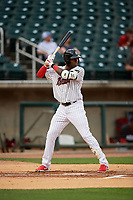 Birmingham Barons Luis Robert (26) at bat during a Southern League game against the Chattanooga Lookouts on May 1, 2019 at Regions Field in Birmingham, Alabama.  Chattanooga defeated Birmingham 5-0.  (Mike Janes/Four Seam Images)
