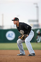 Rudy Flores (25) of the Visalia Rawhide in the field at first base during a game against the Lancaster JetHawks at The Hanger on May 7, 2016 in Lancaster, California. Lancaster defeated Visalia, 19-5. (Larry Goren/Four Seam Images)