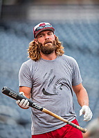 15 August 2017: Washington Nationals outfielder Jayson Werth awaits a turn in the batting cage prior to a game against the Los Angeles Angels at Nationals Park in Washington, DC. The Nationals defeated the Angels 3-1 in the first game of their 2-game series. Mandatory Credit: Ed Wolfstein Photo *** RAW (NEF) Image File Available ***