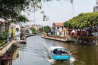 River Cruise Boat on the Melaka River, Melaka, Malaysia.