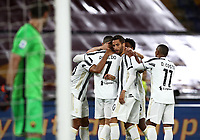 Football, Serie A: AS Roma - Juventus, Olympic stadium, Rome, September 27, 2020. <br /> Juventus' Cristiano Ronaldo (c) celebrates after scoring his second goal in the match with his teammates during the Italian Serie A football match between Roma and Juventus at Olympic stadium in Rome, on September 27, 2020. <br /> UPDATE IMAGES PRESS/Isabella Bonotto