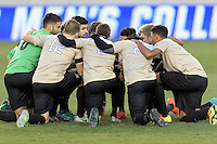 Houston, TX - Friday December 9, 2016: The Wake Forest Demon Deacons huddle prior to the game with the Denver Pioneers at the NCAA Men's Soccer Semifinals at BBVA Compass Stadium in Houston Texas.