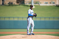 Surprise Saguaros starting pitcher Shawn Morimando (53), of the Toronto Blue Jays organization, gets ready to deliver a pitch during an Arizona Fall League game against the Salt River Rafters at Salt River Fields at Talking Stick on November 5, 2018 in Scottsdale, Arizona. Salt River defeated Surprise 4-3 . (Zachary Lucy/Four Seam Images)