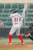 Alejandro Villalobos (11) of the Lakewood BlueClaws at bat against the Kannapolis Intimidators at CMC-Northeast Stadium on August 14, 2013 in Kannapolis, North Carolina.  The Intimidators defeated the BlueClaws 10-2.  (Brian Westerholt/Four Seam Images)