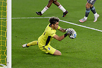 ST PAUL, MN - SEPTEMBER 27: Dayne St. Clair #97 of Minnesota United FC with the save during a game between Real Salt Lake and Minnesota United FC at Allianz Field on September 27, 2020 in St Paul, Minnesota.