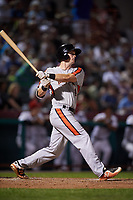 Aberdeen IronBirds left fielder Robert Neustrom (14) hits a home run during a game against the Tri-City ValleyCats on August 27, 2018 at Joseph L. Bruno Stadium in Troy, New York.  Aberdeen defeated Tri-City 11-5.  (Mike Janes/Four Seam Images)