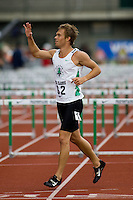 EUGENE, OR--USA's Nick Symmonds takes a victory lap after winning the 800 meters at the Steve Prefontaine Classic, Hayward Field, Eugene, OR. SUNDAY, JUNE 10, 2007. PHOTO © 2007 DON FERIA