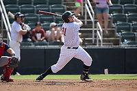 Jake Burger (31) of the Kannapolis Intimidators follows through on his swing against the Hagerstown Suns at Kannapolis Intimidators Stadium on July 9, 2017 in Kannapolis, North Carolina.  The Intimidators defeated the Suns 3-2 in game one of a double-header.  (Brian Westerholt/Four Seam Images)