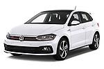 2018 Volkswagen Polo GTI 5 Door Hatchback angular front stock photos of front three quarter view