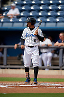 Biloxi Shuckers Trent Grisham (6) at bat during a Southern League game against the Montgomery Biscuits on May 8, 2019 at MGM Park in Biloxi, Mississippi.  Biloxi defeated Montgomery 4-2.  (Mike Janes/Four Seam Images)