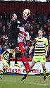 Marek Stech of Yeovil collects under pressure from Bondz N'Gala of Stevenage. Stevenage v Yeovil Town- npower League 1 -  Lamex Stadium, Stevenage - 13th April, 2013. © Kevin Coleman 2013.. . . . .. . . .  . . .  .